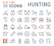 Set Vector Flat Line Icons Hunting Royalty Free Stock Images