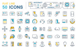 Set Vector Flat Line Icons Internet of Things royalty free illustration