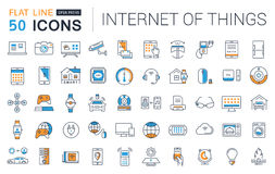 Set Vector Flat Line Icons Internet of Things. Set  line icons in flat design internet of things and smart gadgets with elements for mobile concepts and web apps Royalty Free Stock Photography