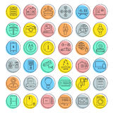 Set Vector Flat Line Icons Internet of Things Royalty Free Stock Photos