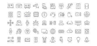 Set Vector Flat Line Icons Internet of Things. Set  line icons with open path internet of things and smart gadgets with elements for mobile concepts and web apps Royalty Free Stock Image