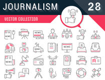 Set Vector Flat Line Icons Journalism vector illustration