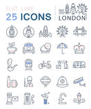 Set Vector Flat Line Icons London Stock Photography