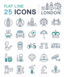 Set Vector Flat Line Icons London and England Royalty Free Stock Image