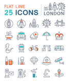 Set Vector Flat Line Icons London and UK Stock Photos