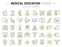 Set Vector Flat Line Icons Medical Education Royalty Free Stock Photos