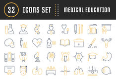 Set Vector Flat Line Icons Medical Education Stock Photos