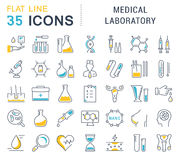 Set Vector Flat Line Icons Medical Laboratory Royalty Free Stock Photo
