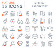 Set Vector Flat Line Icons Medical Laboratory Stock Photography