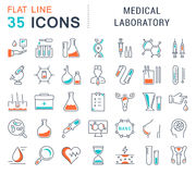 Set Vector Flat Line Icons Medical Laboratory Stock Photos