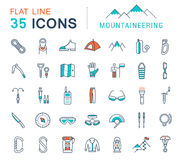 Set Vector Flat Line Icons Mountaineering Royalty Free Stock Image