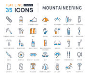 Set Vector Flat Line Icons Mountaineering Stock Photo