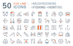 Set Vector Flat Line Icons Mushrooming, Fishing and Hunting Stock Images