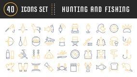 Set Vector Flat Line Icons Mushrooming, Fishing and Hunting Royalty Free Stock Photo