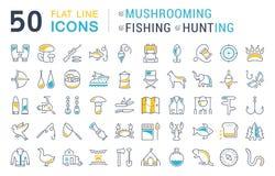 Set Vector Flat Line Icons Mushrooming, Fishing and Hunting Stock Photos