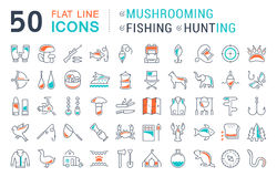 Set Vector Flat Line Icons Mushrooming, Fishing and Hunting Stock Photography