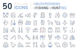 Set Vector Flat Line Icons Mushrooming, Fishing and Hunting Royalty Free Stock Photography