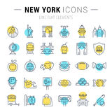 Set Vector Flat Line Icons New York Royalty Free Stock Image