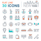 Set Vector Flat Line Icons New York Stock Images