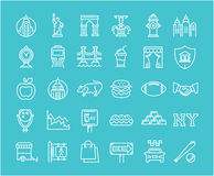 Set Vector Flat Line Icons New York Royalty Free Stock Photography
