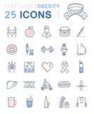 Set Vector Flat Line Icons Obesity Stock Photos