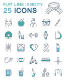 Set Vector Flat Line Icons Obesity Stock Images