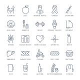 Set Vector Flat Line Icons Obesity Stock Photos