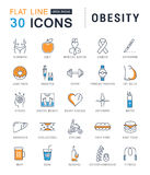 Set Vector Flat Line Icons Obesity royalty free illustration