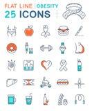 Set Vector Flat Line Icons Obesity Royalty Free Stock Photos