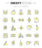 Set Vector Flat Line Icons Obesity Royalty Free Stock Images