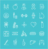 Set Vector Flat Line Icons Obesity Royalty Free Stock Image