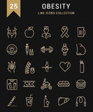Set Vector Flat Line Icons Obesity Royalty Free Stock Photo