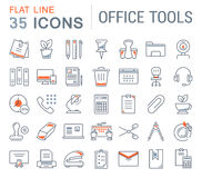 Set Vector Flat Line Icons Office Tools Royalty Free Stock Image