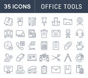 Set Vector Flat Line Icons Office Tools. Set  line icons in flat design office tools with elements for mobile concepts and web apps. Collection modern Stock Images