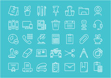 Set Vector Flat Line Icons Office Tools. Set  line icons in flat design office tools with elements for mobile concepts and web apps. Collection modern Stock Photography