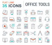 Set Vector Flat Line Icons Office Tools. Set  line icons in flat design office tools with elements for mobile concepts and web apps. Collection modern Stock Photos
