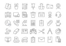 Set Vector Flat Line Icons Office Tools. Set  line icons in flat design office tools with elements for mobile concepts and web apps. Collection modern Royalty Free Stock Image