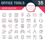Set Vector Flat Line Icons Office Tools. Set vector line icons in flat design office tools with elements for mobile concepts and web apps. Collection modern Stock Photo