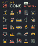 Set Vector Flat Line Icons Oil Industry Royalty Free Stock Photo