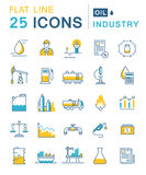 Set Vector Flat Line Icons Oil Industry Royalty Free Stock Image
