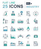 Set Vector Flat Line Icons Oil Industry Stock Photography