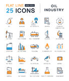 Set Vector Flat Line Icons Oil Industry Stock Image