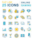 Set Vector Flat Line Icons Online Gaming Royalty Free Stock Photo