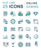 Set Vector Flat Line Icons Online Gaming Stock Photography