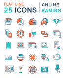 Set Vector Flat Line Icons Online Gaming Royalty Free Stock Photography