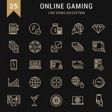 Set Vector Flat Line Icons Online Gaming Royalty Free Stock Image
