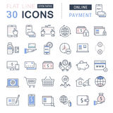 Set Vector Flat Line Icons Online Payment Stock Images