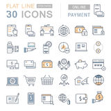 Set Vector Flat Line Icons Online Payment Royalty Free Stock Photo