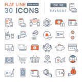 Set Vector Flat Line Icons Online Payment Royalty Free Stock Photos
