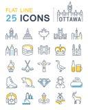 Set Vector Flat Line Icons Ottawa Stock Image